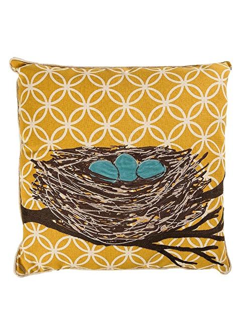 Love Letter Kuş Yuvası İşlemeli Keten Yastık Renkli